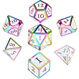 7 Pieces Metal Dices Set DND Game Polyhedral Solid Metal D&D Dice Set with Storage Bag and Zinc Alloy with Enamel for Role Playing Game Dungeons and Dragons, Math Teaching (Colorful Edge White)