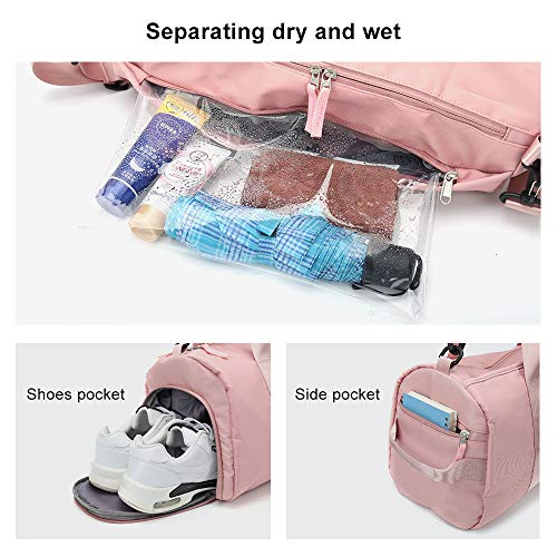 Gym Bag for Women, Workout Duffel Bag Shoe Compartment, Sports Gym Bags with Wet Pocket and Shoe Compartment,Pink