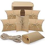 FYSL 50 Piezas Cajas de Almohada de Papel Kraft Vintage, Caja de dulces de papel Kraft, Cajas de Regalo Pequeñas con 50 Cuerda de Yute para Boda Favor Paquete, Cumpleaños,Fiesta