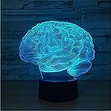 Brain Led 3D Light Night 7 colores Lámpara de mesa Juguete de regalo para niños lindos para bebés y niños Lámpara de decoración de dormitorio Iluminación interior