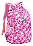 JiaYou Girl Geometric Printed Primary Junior High University School Bag Bookbag Backpack(2# Rose,35 L)