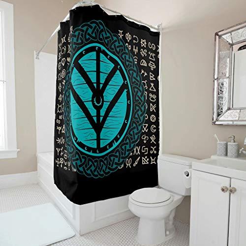 NeiBangM Viking douchegordijn en met ringen polyester stof badkamer douchegordijn