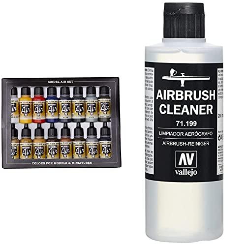 Vallejo Model Air Set - Set de pintura acrílica (16 unidades), multicolor + 71.199, Limpiador Aerógrafo - 200 ml