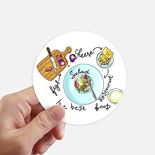 DIYthinker Salade Kaas Vijgen Frankrijk Restaurant Ronde Stickers 10 Cm Wandkoffer Laptop Motobike Decal 8 Stks