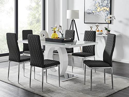 Furniturebox UK Giovani Grey/White Modern Stylish High Gloss Glass Dining Table Set and 6 Contemporary Milan Chairs Set (Dining Table + 6 Black Milan Chairs)