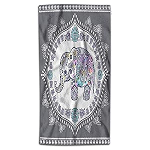 Wondertify Indian Lotus Ethnic Elephant Hand Towel African Tribal Boho Mandala Arabesque Hand Towels for Bathroom, Hand & Face Washcloths 15X30 Inches White Grey