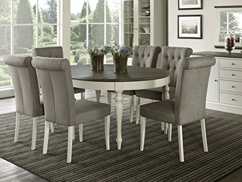 Everhome Designs - Vegas 7 Piece Round To Oval Extension Dining Table...