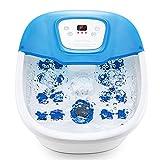Masajeador de pies con calor, burbuja y vibración, 16 rodillos de masaje, tiempo y temperatura ajustables, burbujas O2 y baño de pedicura con piedra pómez para uso doméstico