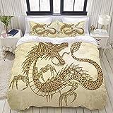 SmallNizi Juego de Funda nórdica, Tatuaje de Henna Dragon Doodle Sketch Tribal, Juego de Cama Decorativo Colorido de 3 Piezas con 2 Fundas de Almohada