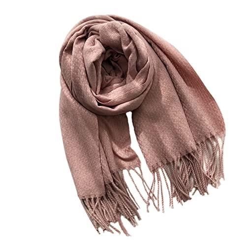 HUNOL Bufandas Para Mujer Invierno,Primavera Invierno Grueso Borla Estolas Fulares Aplicar Para Invierno-Rosa oscuro-70~200cm