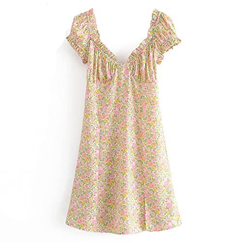 IJARL Vintage Floral Print Dress Women Puff Sleeve High Waist A-line Mini Dress Chiffon Dresses Robe