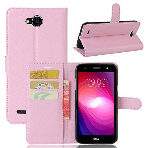 pinlu® PU Leder Hülle Schutzhülle Für LG X Power2 Prämie Geschäfts Art Haut Textur Flip Etui Brieftasche Mit Stand Function Innenschlitzen Design Cover Rosa