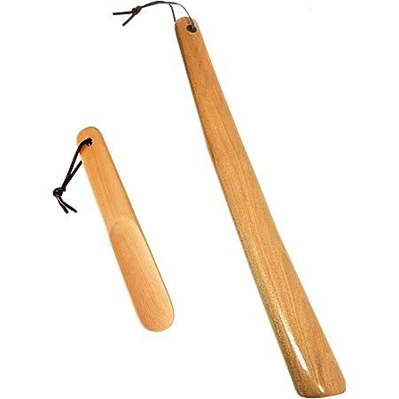 Milai 2Pcs Chausse-pieds - bois Chausse-pied avec corde suspendue,Shoe Horn Chausse-pied Long Manche,Chausse-pied en bois de hêtre,parfait pour Hommes Femmes Enfants(bois fraisé)