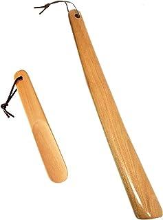 Calzascarpe,2 packs 40&16 cm Calzascarpe con corda appesa,Calzascarpe in legno di faggio,Calzascarpe manico lungo corno sc...