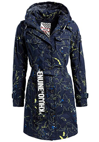 khujo Damen Mantel Menna aus Baumwolle Sommermantel mit im Kragen verstaubarer Kapuze Trenchcoat mit Gürtel