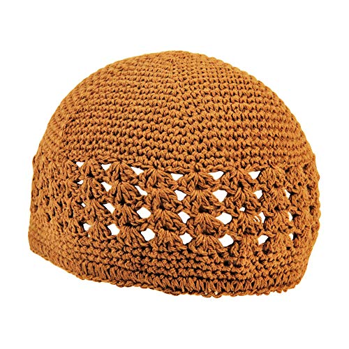Hijaz Dark Brown One Size Fits All Stretchable Crochet Weave Hat Knit Kufi Skull Cap