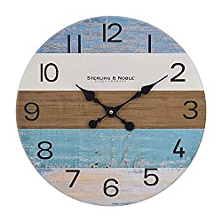 Round Wall Clock Decor 15 Inch Silent Wooden Wall Clocks Rustic Style Battery Operated for Living Room Kitchen