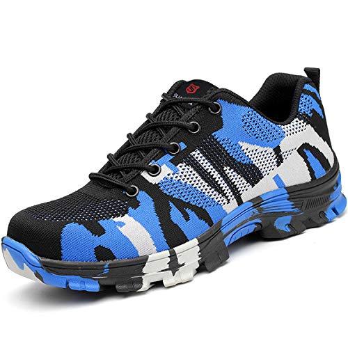 SUADEEX Arbeitsschuhe Damen Herren Sicherheitsschuhe s3 Leicht Stahlkappen Sportlich Schuhe, 05-blau, 41 EU