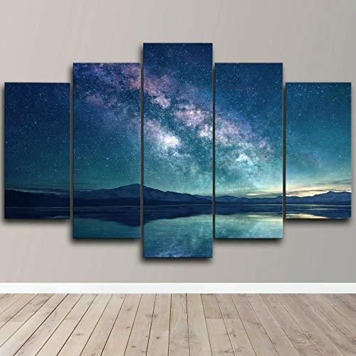 ARIE 5 Piezas Cuadro Paisaje del Cielo Espacial De La Vía Láctea 5 Piezas Impresión En Lienzo Tablero del Moderno Cuadro De Pintura Póster De Arte Sala De Decoración Hogareña