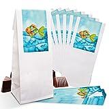 25 kleine weiße Papier-Tüten Pergamin-Einlage 7 x 4 x 20,5 cm + 25 blau türkise Regenbogen-Fisch SCHÖN DASS DU DA BIST Aufkleber 5 x 15 cm Verpackung...