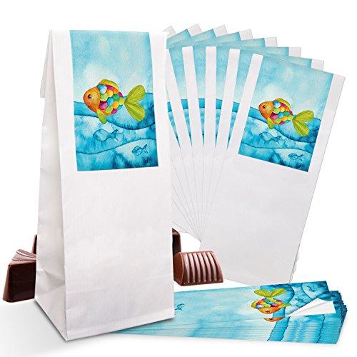 25 kleine weiße Papier-Tüten Pergamin-Einlage 7 x 4 x 20,5 cm + 25 blau türkise Regenbogen-Fisch SCHÖN DASS DU DA BIST Aufkleber 5 x 15 cm Verpackung give-away