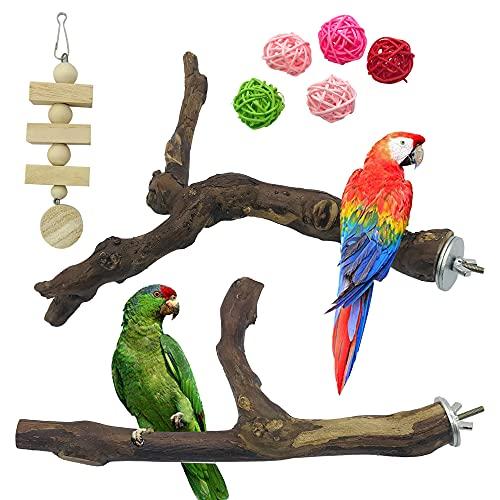 N\\A Allazone 8 Stück Sitzstangen Vögel, Naturholz Sitzstangen Natürlicher Traubenstab Sitzstangen für Vögel, Vögel Spielzeug Vogel Papagei Schaukel Spielzeug