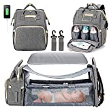 3 in 1 Diaper Bag Backpack with Changing Station, Waterproof Baby Bag with Auto Foldable Crib, Travel Bassinet with USB Charging Port and Shade Cloth (Grey)