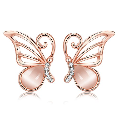 18k Rose Gold Plated Opal Butterfly Stud Earrings for Women Teen Girls Jewelry