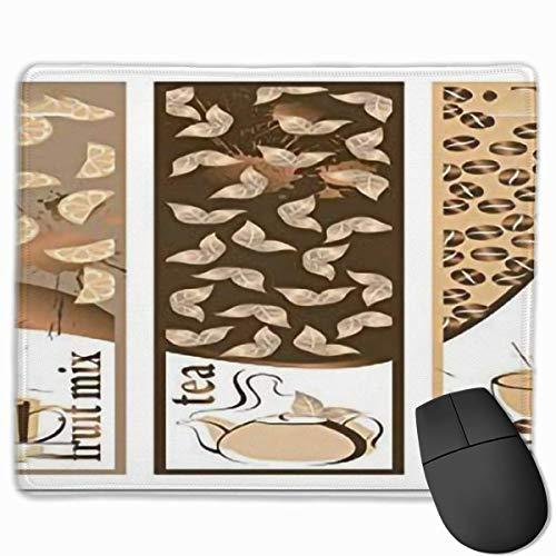 Niedliches Gaming-Mauspad, Schreibtisch-Mauspad, kleine Mauspads für Laptop-Computer, Mausmatte-Kaffeegruppe Gruppe von Getränkemenü Art-Obst-Mix-Tee-Kaffee heißes dampfendes Getränk Printbrown Beige