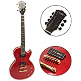 ZUWEI Semi Hollow Electric Guitar 6 Strings with Mahogany Body, Bone Nut, P90 Pickups Green Inlay Grover Tuner, Goldtop Ebony Fingerboard, Metal Red