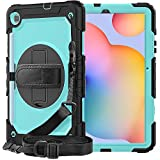 Samsung Tab S6 Lite Case 10.4 '' 2020 with Screen Protector | SIBEITU Heavy Duty Shockproof Protective Case with 360 Rotate Stand Handle Shoulder Strap for SM-P610/P615 | SkyBlue