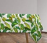 Vilber, Mantel de Tela confeccionado, Rectangular, resinado, con Tratamiento Antimanchas, Impermeable, Estampado Hojas. JAMAICA-R22. Color Verde, OT Mantel 136X200 Jamaica.2453 R22