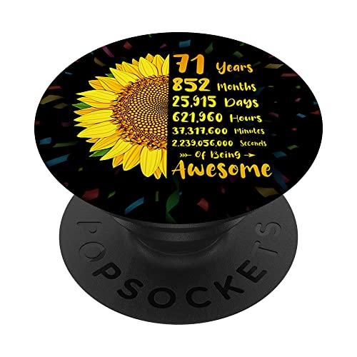 Girasol 71 cumpleaños 71 años 852 meses de ser impresionante PopSockets PopGrip Intercambiable