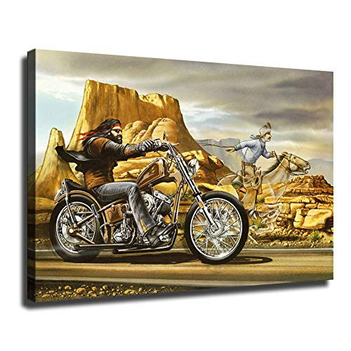 MINGYUE Ghost Rider David Mann Motorcycle on Canvas Oil Painting Posters and Prints Decorations Wall Art Picture Living Room Wall Ready to Hang-33 (with Framed,24x36 inch)