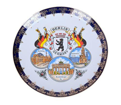 Unbekannt Berlin Souvenir Edler Porzellan Teller mit Wappen und Sehenswürdigkeiten Motiv Kobaltblau und Gold