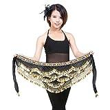 YiJee Danza del Ventre Hip Donna Wrap Costume Orientale Sciarpa Cintura con 328 Monete Nero