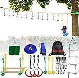 Kids Slackline Hanging Obstacle Course Set-Ninja Slackline Slackline KitSwingTrapeze Swing Ninja...