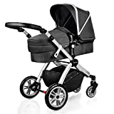 Infant Bassinet Hot Mom 2 in 1 Toddler Stroller Seat and Bassinet Combo,New PU Rubber Wheel,Anti-UV Canopy,Foot Cover with 8 Gifts,Good Quality,Black Grey