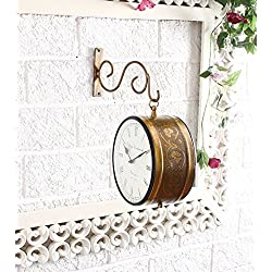 Tuzech Brass Finish Antique Style Round Hanging Wall Mount Home Decor Double Side Wall Clock Creative Classic Clock Best for Gift (10 Inches)