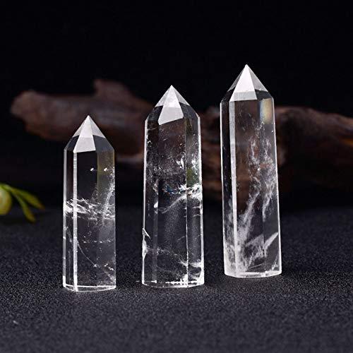 結晶のラフ 1ピースナチュラルクリスタル透明度クォーツポイントヒーリングストーン六角形プリズム50-80ミリメートルオベリスクワンドホームインテリア (Color : Rock Crystal Quartz, Size : 50-60mm)