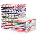 AOTBAT Kitchen Towels and Dishcloths Set, 16 x 25 and 12 x 12, Set of 12 Bulk Cotton Kitchen Towels Set, Dish Towels for Washing Dishes Dish Rags for Everyday Cooking and Baking
