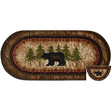 Dean Washable Non-Slip  Brown Bear  Cabin Mountain Kitchen/Bath/Door Entrance Mat/Rug Set 20 Inch x 44 Inch Oval (1) and Matching 19 Inch x 31 Inch Half Circle (1)