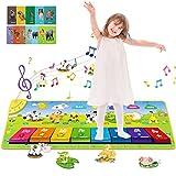 Innedu Alfombra de Piano, Alfombra Musical con Teclas de Colores 3D, Tapete de Piano con 7 Sonidos de Animales y 10 Tarjetas de Estudio, Juguetes Alfombrilla de Baile para Niños (100 * 36 cm)