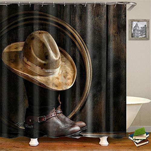 Chornlily Vorhang Retro West Cowboystiefel Hut Pferde wasserdichtes Gewebe Polyester Duschvorhänge Duschvorhänge (Color : Boot hat, Size : 180 * 180cm)