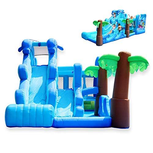 MXXQQ Castillo Hinchable Grande de Verano con tobogán acuático Doble Inflable con Pared de Escalada, Piscina y trampolín para jardín de Infantes al Aire Libre - 600x280x270cm (con soplador de Aire