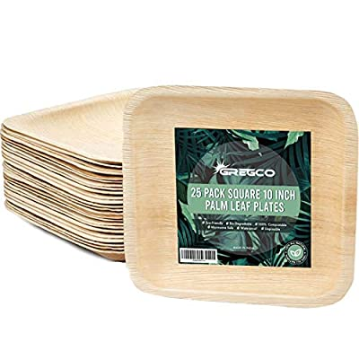 25 Pack GregCo 10 inch Areca Palm Leaf Plates Eco-Friendly Disposable Bio-Degradable Dinner Plates, Eco-Bamboo Plates