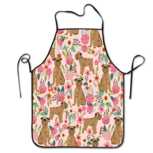 Brussels Griffon Dog Floral Grill Cooking Baking Kitchen Restaurant Chef Apron for Men Women