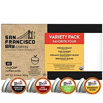 SF Bay Coffee Variety Pack 80 Ct Compostable Coffee Pods K Cup Compatible including Keurig 2.0