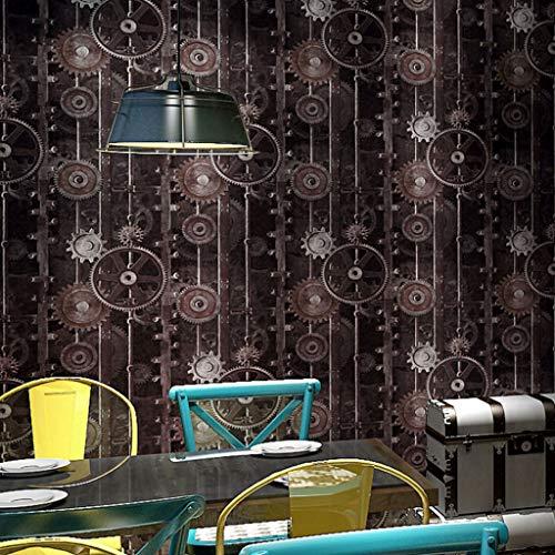 zcyg Papel Pintado Wallpaper Papel Pintado Retro Fondo Industrial Maquinaria Viento Decoración Engranaje Fondo de Pantalla for no autoadhesiva Ideal for Sala de Estar Dormitorio C