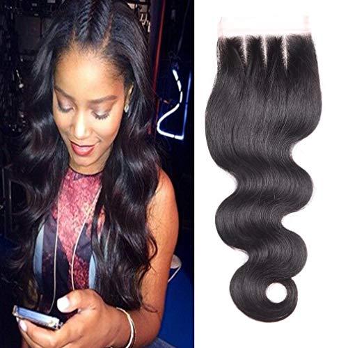 """BLISSHAIR Top Lace Closure Middle Part 3.5"""" x 4"""" Bresilien Vierges Extensions de Cheveux Humains Noir Naturels Body Wave 10"""""""
